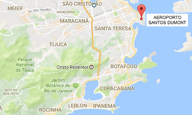 Map of Rio de Janeiro City and the location of domestic airport Santos Dumont