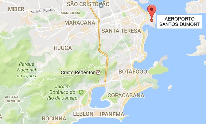 Mapa da Cidade do Rio de Janeiro apontando a localização do aeroporto Santos Dumont (voos domésticos)