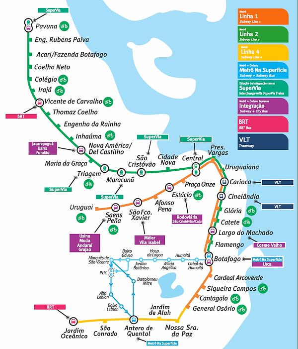 Mapa das estações de metro (Metro Rio), com as estações do metro subterraneo, metro na superficie e linhas de integração