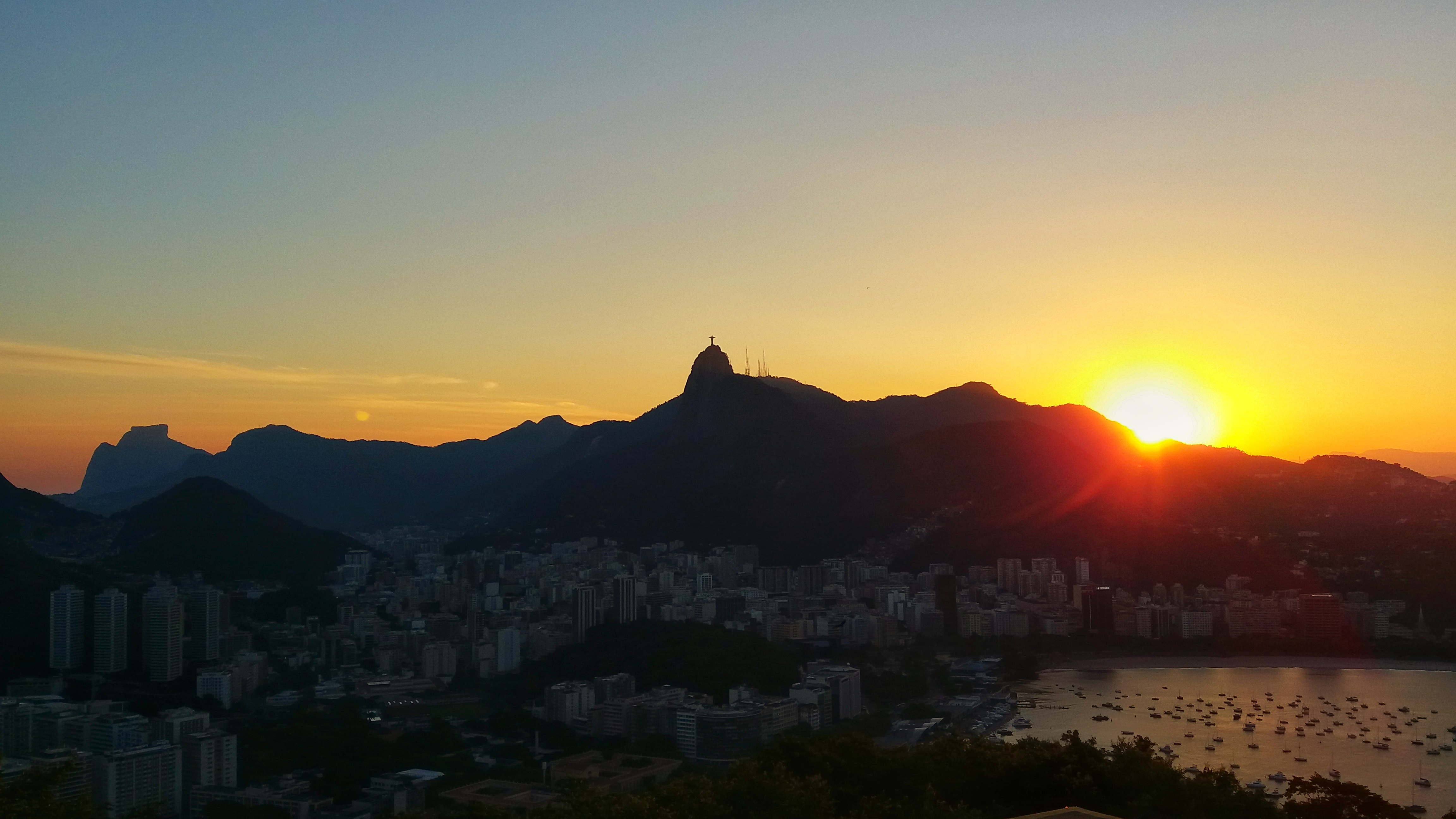 Sunset and Christ the Redeemer
