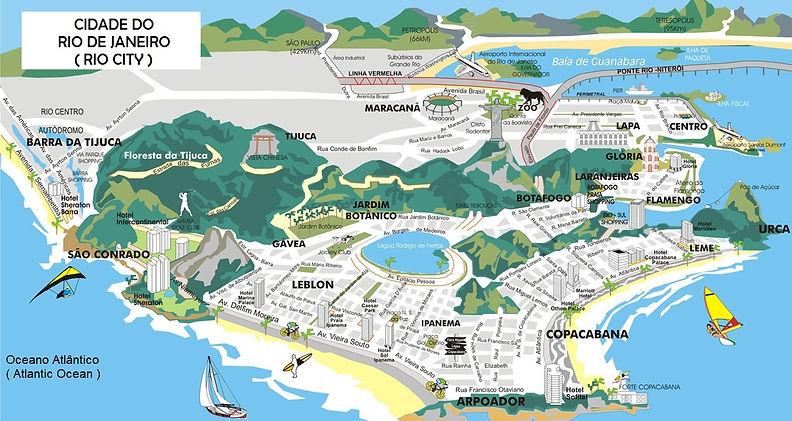 Mapa da Cidade do Rio de Janeiro e os principais bairros.