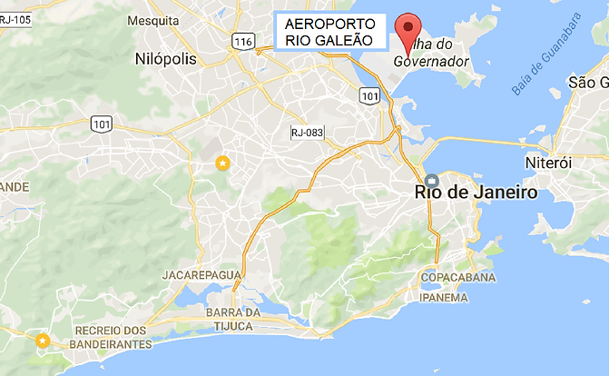 Mapa do Rio de Janeiro apontando a localização do aeroporto internacional Tom Jobim - RIOGaleão