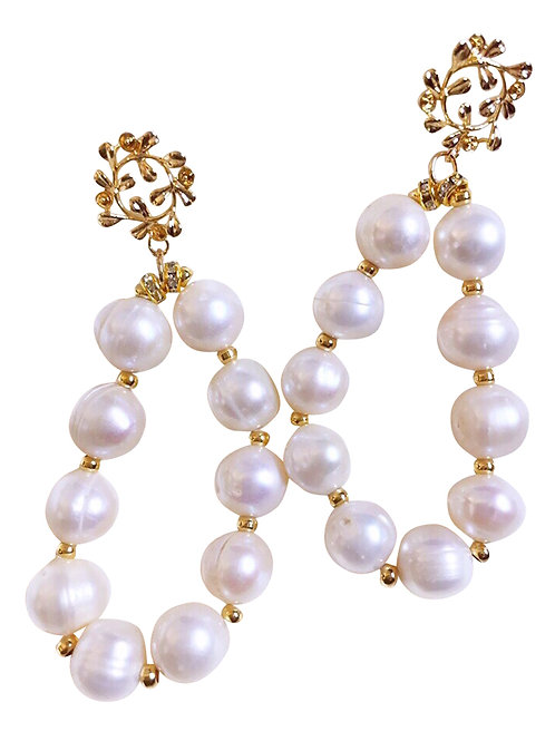 Earrings Pompadour Gold Plated and Natural Pearl