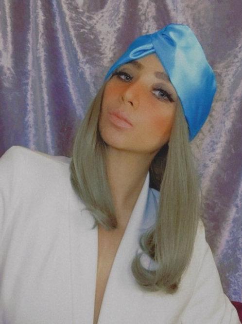 Turban Grace Kelly Blue Satin