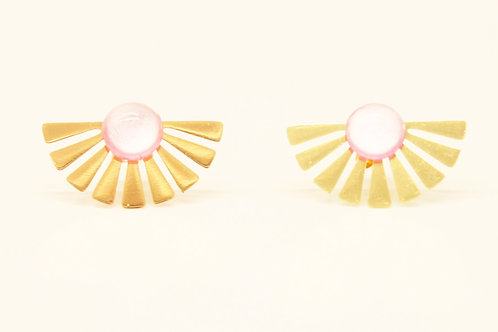 Earrings Pompadour Gold Plated and Natural Stone