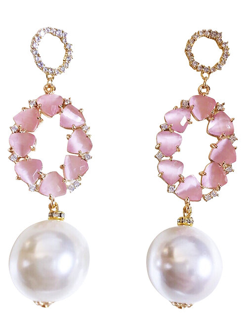 Earrings Pompadour Gold Plated and Natural Stone and Pearl
