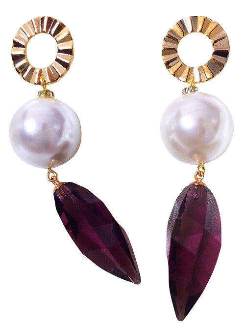 Earrings Pompadour Gold Plate with Crystal and Natural Pearl