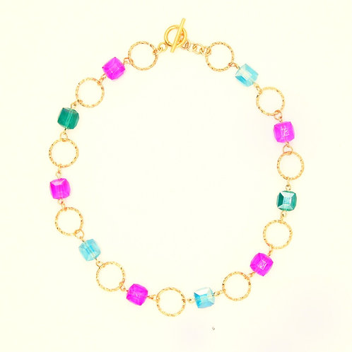 Necklace Marie-Antoinette Gold Plated with Crystal Cube