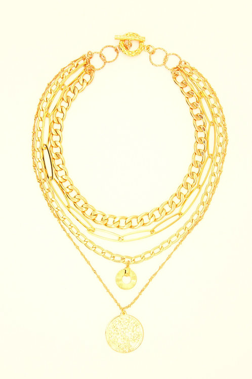 Necklace Marie-Antoinette Gold Plated Four Layer Chain