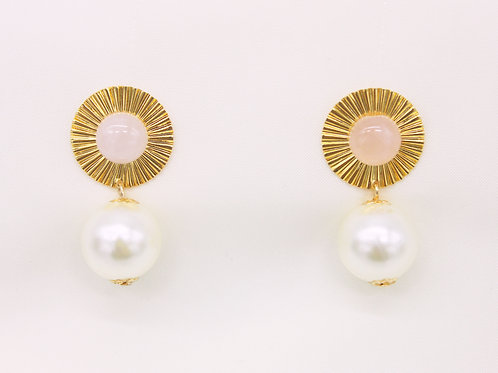 Earrings Pompadour Gold and Natural Stone