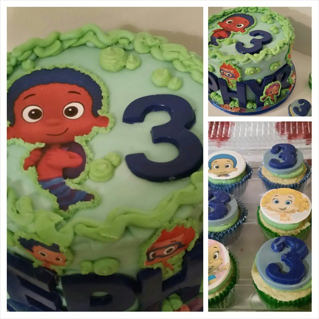 Zephyr is turning 3 with the Bubble Guppies! #birthday #sourcream cake #buttercream  #chocolate lett