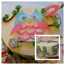 An owl cake for a 2yr old! #chocolate letters spelling out her name #fondant owl but the cake is #so