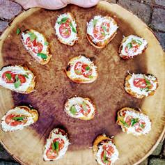 Creamy Artichoke Bruschetta with Fresh Basil & Roma Tomoatoes