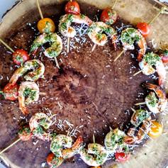 Macadamia Nut Pesto Shrimp Skewers