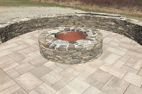 patio with fire pit norwell ma