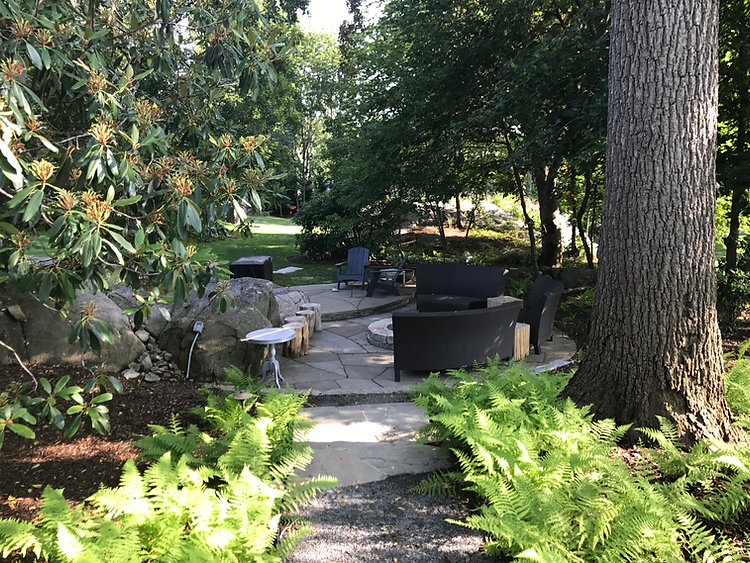 pathway leading to bluestone patio built into outcropping of ledge with a granite fire pit in hingham ma
