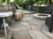 bluestone patio with granite fire pit in hingham ma