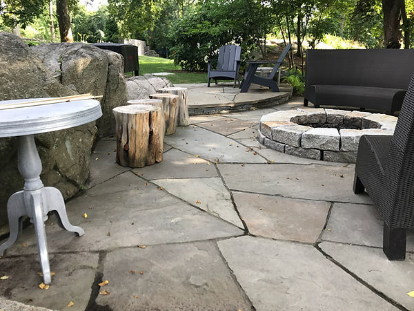 bluestone patio with granite fire pit in hingham ma