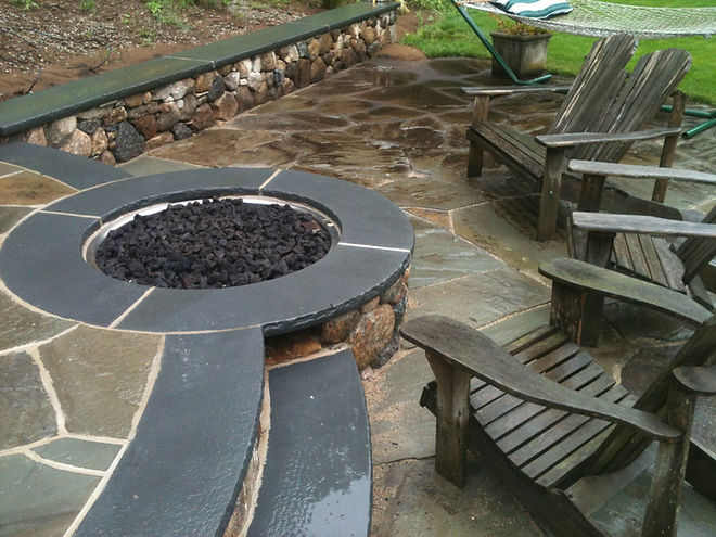 stone fire pit and patio in hingham ma