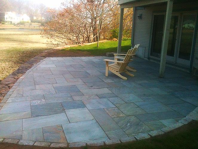patio with cobblestone marshfield ma