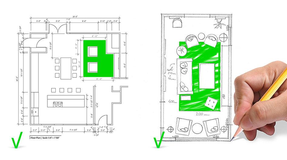schizzo grafico dimensioni tappeto su misura