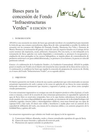 Se abre el plazo de solicitud del fondo Infraestructuras Verdes
