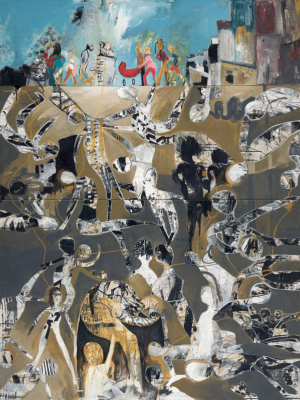 """'Underbelly'is a large mixed media painting and part of Gabriela Hirt's series """"The Indelible Mark"""""""