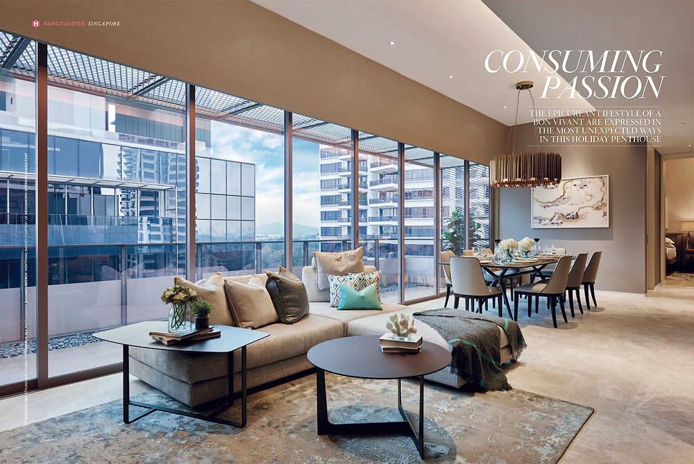 Leedon Residence - Penthouse Show suites - Living & Dining Area - Best Interior Design Singapore - Designworx Interior Consultant - Asia Pacific Property Awards - Best Interior Design Apartment Singapore -