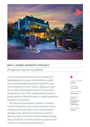 Tatler Design Awards 2018 l Best Landed Property Project l Designworx Interior Consultant
