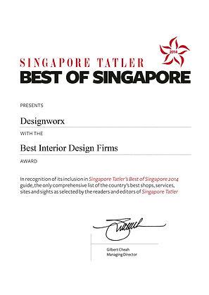 Singapore Tatler Best of Singapore 2014 l Best Interior Design Firms l Designworx Interior Consultant
