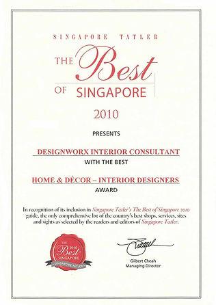 Singapor Tatler Best of Singapore 2010 l Best Home & Decor Interior Designers l Designworx Interior Consultant
