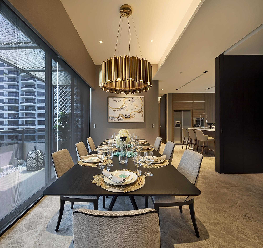 Leedon Residence - Penthouse - Showflat- Dining Area -Table Setting - Hanging Lamp - Feature Light - Artwork - Best Interior Design Singapore - Designworx Interior Consultant - Asia Pacific Property Awards - Best Interior Design Apartment Singapore -