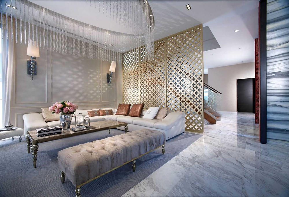 Parkstone Road - Residential Property Singapore - Timeless Designs - Living - Sofa - Feature Lamp - Feature Lights - Marble - Wallpanel - Living Room - Best Interior Design Singapore - Designworx Interior Consultant