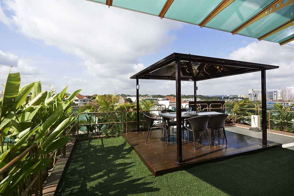 outdoor  garden landscaping Good class bungalow  GCB Singapore  interior designers interior design timeless rooftop dining terrace  landed properties luxurious  landscaping ideas  landed properties outdoor lounge penthouses architect Singapore Pandemic A Rooftop with A View