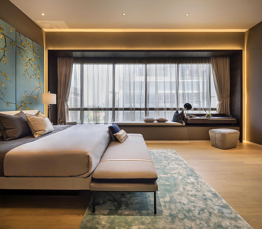 Leedon Residence - Penthouse - Show suites- Master Bedroom - Embroidery - Artwork - Best Interior Design Singapore - Designworx Interior Consultant - Asia Pacific Property Awards - Best Interior Design Apartment Singapore -