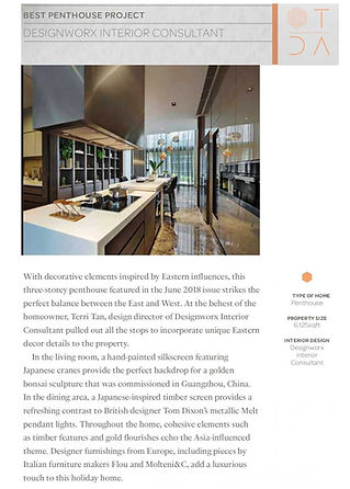 TATLER DESIGN AWARDS 2019 - BEST PENTHOUSE PROJECT - DESIGNWORX INTERIOR CONSULTANT PTE LTD - LEEDON RESIDENCE