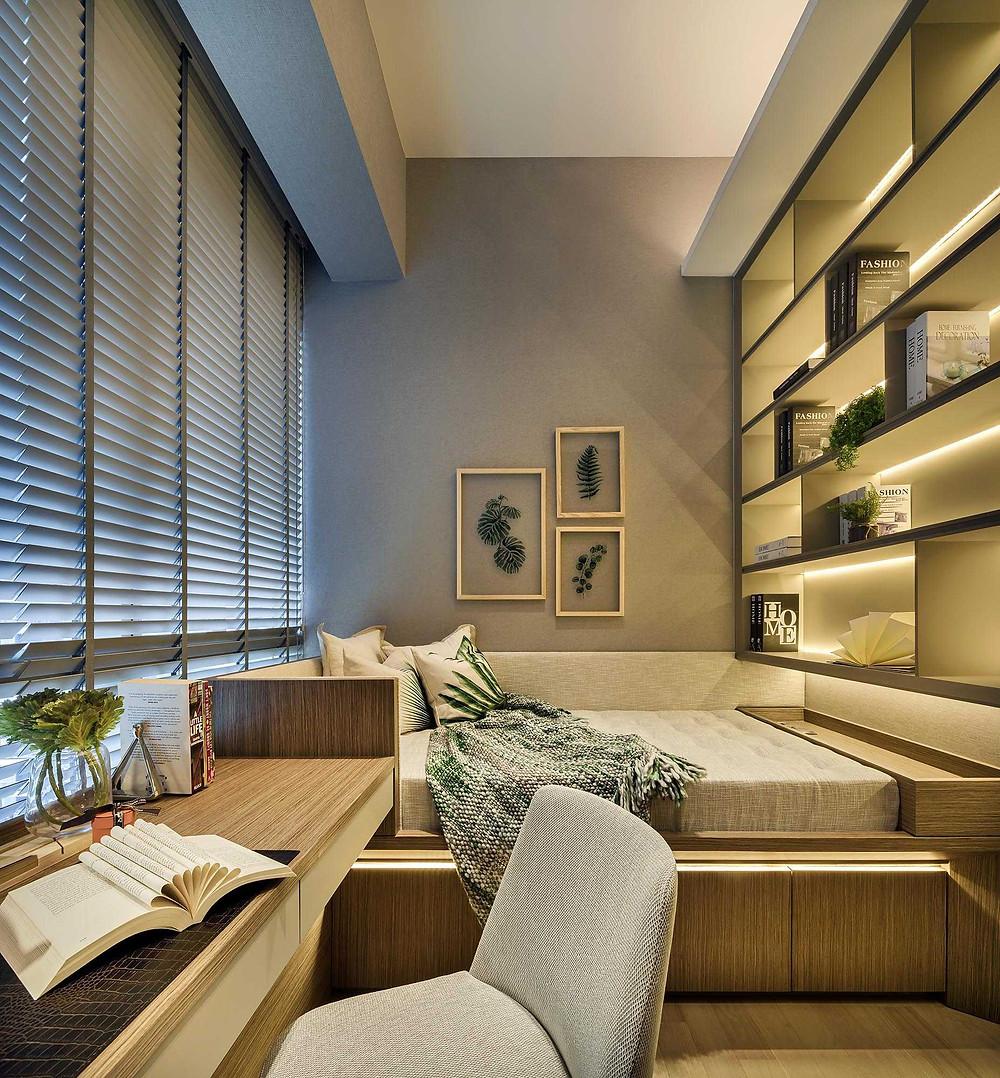 Leedon Residence - Penthouse - Show unit - Study Room - Guest Bedroom - Best Interior Design Singapore - Designworx Interior Consultant - Asia Pacific Property Awards - Best Interior Design Apartment Singapore -