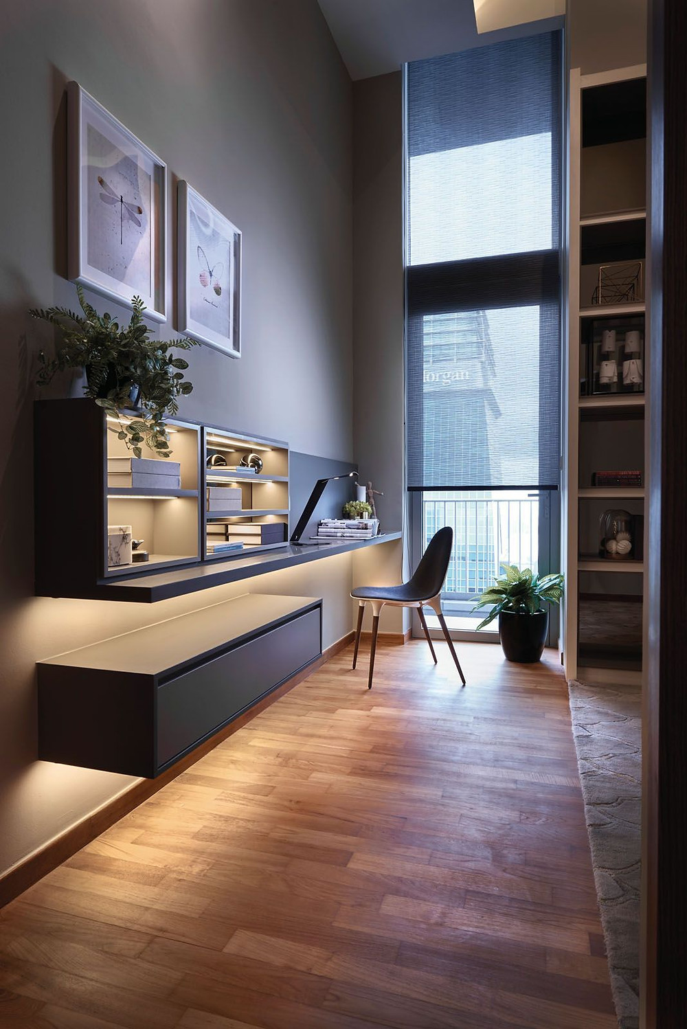 The stylish study area in the bedroom of a penthouse project, for which Designworx Interior Consultant won Best Penthouse Project at Tatler Design Awards 2020