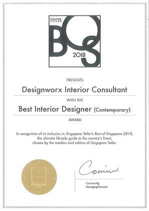 Singapore Tatler Best of Singapore 2018 l Best Interior Designer l Designworx Interior Consultant