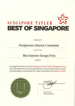 Singapore Tatler Best of Singapore 2015 l Best Interior Design Firm Award l Designworx Interior Consultant