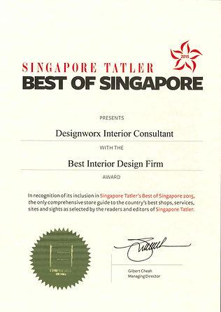 Singapore Tatler Best of Singapore 2015 l Best Interior Design Firm Award l Designworx Interior Consultant