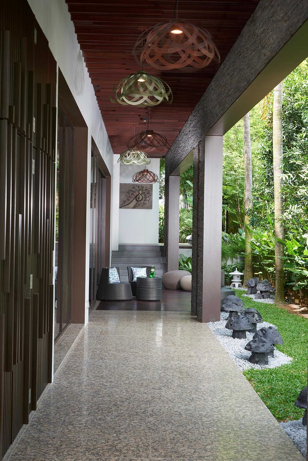Immersing in Nature Good Class Bungalow  Natural stone Exotic stones Yeni Grey Magma Black granite Forest Onyx Nero Marquina Walnut Travertine Palisandra Gold Shanxi Black Singapore  Cable Road Leedon Park Chestnut Crescent District 10 award winning residential interior design Hotel look powder room bathroom luxurious premium high end timeless