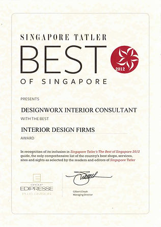 Singapore Tatler Best of Singapore 2012 l Best Interio Design Firms l Designworx Interior Consultant