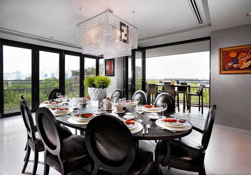 Dining - Fendi - Feature light - DIning Setting - Hanging light - Dining Chairs - Outdoor Chairs - Best Interior Design Singapore - Designworx Interior Consultant