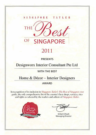 Singapore Tatler Best of Singapore 2011 l Best Home & Decor Interior Designers l Designworx Interior Consultant