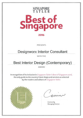 Singapore Tatler Best of Singapore 2016 l Best Interior Design l Designworx Interior Consultant