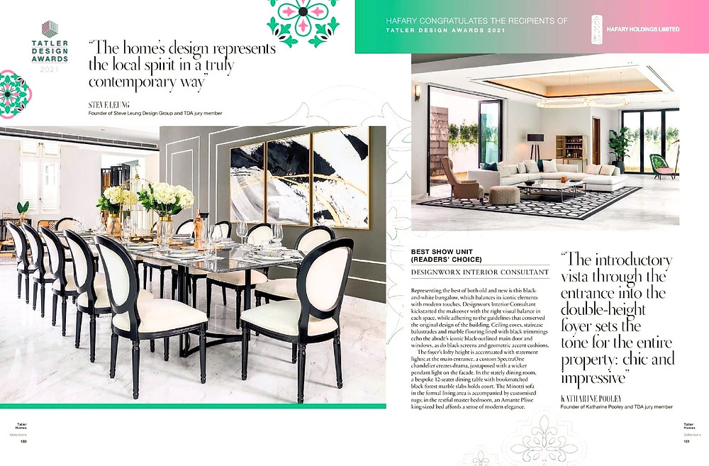 tatler design awards, 2021, best show unit, designworx interior consultant