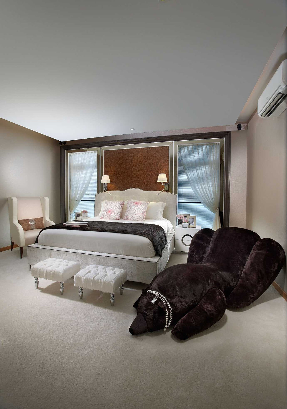 Parkstone Road - Residential Property Singapore - Timeless Designs - Interior - Master Bedroom - Footstool - Bed frame - Window - Curtains - Best Interior Design Singapore - Designworx Interior Consultant