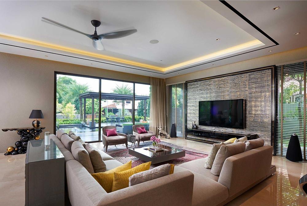 Luxury Interior Design l Landed House l Living Interior l Resort-Themed Bungalow l Chestnut Crescent