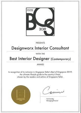 Singapore Tatler l Best of Singapor 2019 l Best Interior Designer l Desigworx Interior Consultant